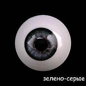Материалы для творчества ручной работы. Ярмарка Мастеров - ручная работа 28 мм, серо-зеленые  Глаза акриловые для кукол. Handmade.