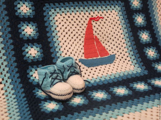 """Пледы и одеяла ручной работы. Ярмарка Мастеров - ручная работа. Купить Комплект для новорожденного """"Моряк"""". Handmade. Плед, плед крючком"""