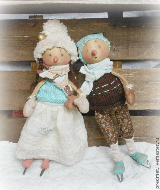 Коллекционные куклы ручной работы. Ярмарка Мастеров - ручная работа. Купить Зимняя прогулка. Handmade. Бирюзовый, прогулка, друзья, рождество