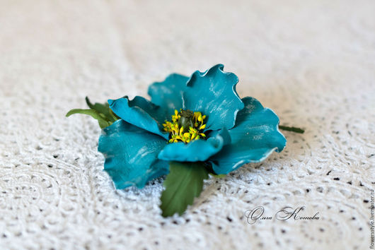 Броши ручной работы. Ярмарка Мастеров - ручная работа. Купить Бирюзовый мак Брошь цветок из кожи Вне времени голубой цветы из кожи. Handmade.