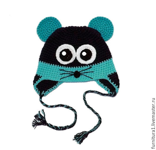 Шапки и шарфы ручной работы. Ярмарка Мастеров - ручная работа. Купить Мышка детская шапочка (теплая зимняя с ушками шапка) бирюзовый. Handmade.