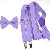 Аксессуары handmade. Livemaster - original item Set bow tie and suspenders purple. Handmade.