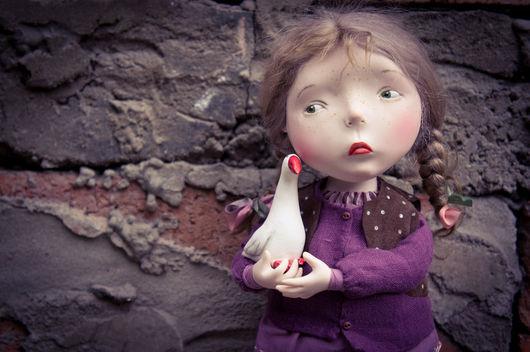 Коллекционные куклы ручной работы. Ярмарка Мастеров - ручная работа. Купить Гусь лапчатый. Handmade. Тёмно-фиолетовый, paperclay