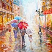 """Картины и панно ручной работы. Ярмарка Мастеров - ручная работа Картина """"Прогулка под зонтом"""", холст, масло, оргалит, 40х50 см. Handmade."""