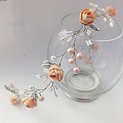 Диадема для невесты ручной работы. Ярмарка Мастеров - ручная работа Нежная веточка ободок для свадебной прически. Handmade.