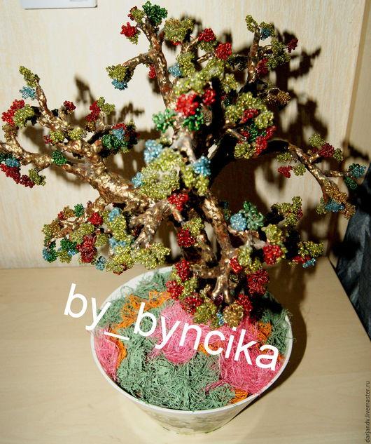 Деревья ручной работы. Ярмарка Мастеров - ручная работа. Купить Осеннее дерево из бисера. Handmade. Комбинированный, Дерево из бисера, Бисероплетение