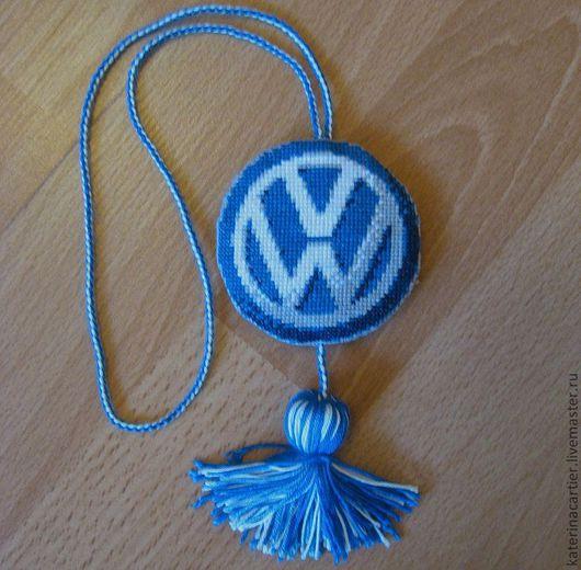 Брелоки ручной работы. Ярмарка Мастеров - ручная работа. Купить Подвеска с логотипом в автомобиль. Handmade. Вышивка крестом, брелок