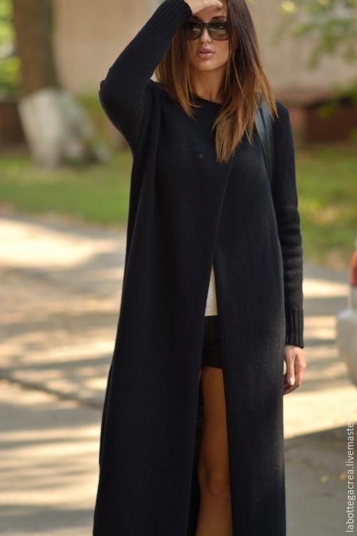 Кофты и свитера ручной работы. Ярмарка Мастеров - ручная работа. Купить Вязаное пальто La Liberta. Handmade. Черный
