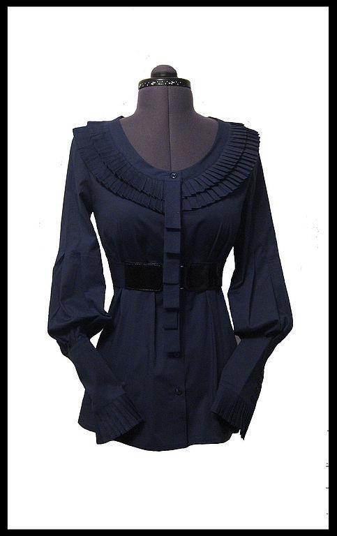 Блузки ручной работы. Ярмарка Мастеров - ручная работа. Купить Блузка Чудесная ностальгия. Handmade. Тёмно-синий, блузка из хлопка