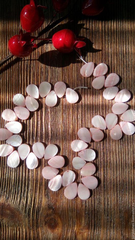 Для украшений ручной работы. Ярмарка Мастеров - ручная работа. Купить Тонированный перламутр бусины капля. Handmade. Розовый