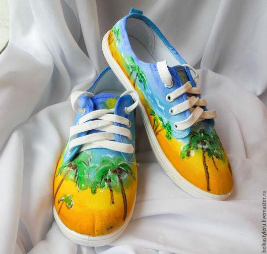 """Обувь ручной работы. Ярмарка Мастеров - ручная работа. Купить Кеды женские """"Пляж"""", кеды с рисунком ,роспись кед.. Handmade."""