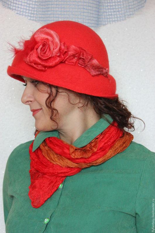 """Шляпы ручной работы. Ярмарка Мастеров - ручная работа. Купить шляпка """"Love"""". Handmade. Ярко-красный, звездное небо, бисер"""