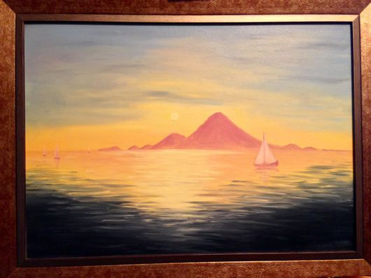 """Пейзаж ручной работы. Ярмарка Мастеров - ручная работа. Купить """"Морской пейзаж"""". Handmade. Комбинированный, солнце, парусники, холст"""