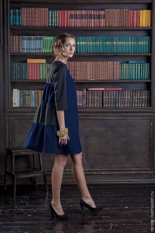 Платья ручной работы. Ярмарка Мастеров - ручная работа. Купить Платье из двусторонней ткани Кити. Handmade. Тёмно-синий