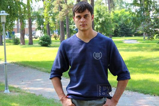Для мужчин, ручной работы. Ярмарка Мастеров - ручная работа. Купить Рубаха с символикой. Handmade. Тёмно-синий, русская рубашка