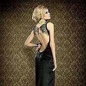 Одежда ручной работы. Ярмарка Мастеров - ручная работа Длинное черное платье с открытой спиной из шелка. Handmade.