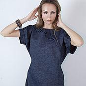 Одежда ручной работы. Ярмарка Мастеров - ручная работа Платье из льна синее. Handmade.