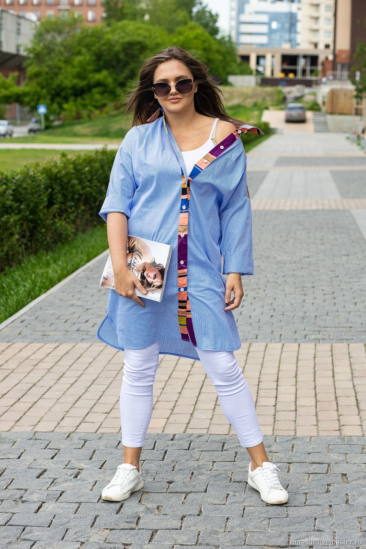 Author's Dress shirt cotton blue checkered, Dresses, Novosibirsk,  Фото №1