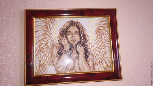 """Люди, ручной работы. Ярмарка Мастеров - ручная работа. Купить Картина вышивка """" ангел"""". Handmade. Коричневый, картина"""