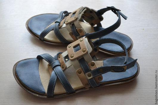 """Обувь ручной работы. Ярмарка Мастеров - ручная работа. Купить Плетёнки """"песочный бриз"""". Handmade. Синий, кожаная обувь"""