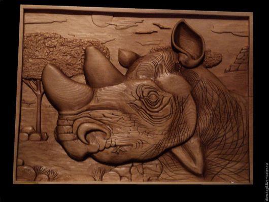 Животные ручной работы. Ярмарка Мастеров - ручная работа. Купить Картина носорог. Handmade. Дерево ручной работы, коричневый
