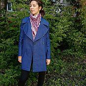 Одежда handmade. Livemaster - original item Denim coat blue double breasted. Handmade.