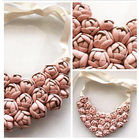 """Колье, бусы ручной работы. Ярмарка Мастеров - ручная работа. Купить Колье """" Розовые бутоны"""". Handmade. Кожа"""