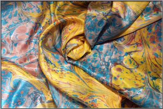 Шали, палантины ручной работы. Ярмарка Мастеров - ручная работа. Купить Шелковый платок, выполненный в технике Эбру (рисунки на воде). Handmade.