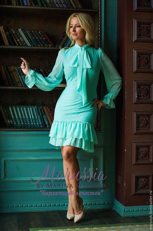 Платья ручной работы. Ярмарка Мастеров - ручная работа. Купить Платье БЛ 44. Handmade. Тёмно-бирюзовый, платье трикотажное
