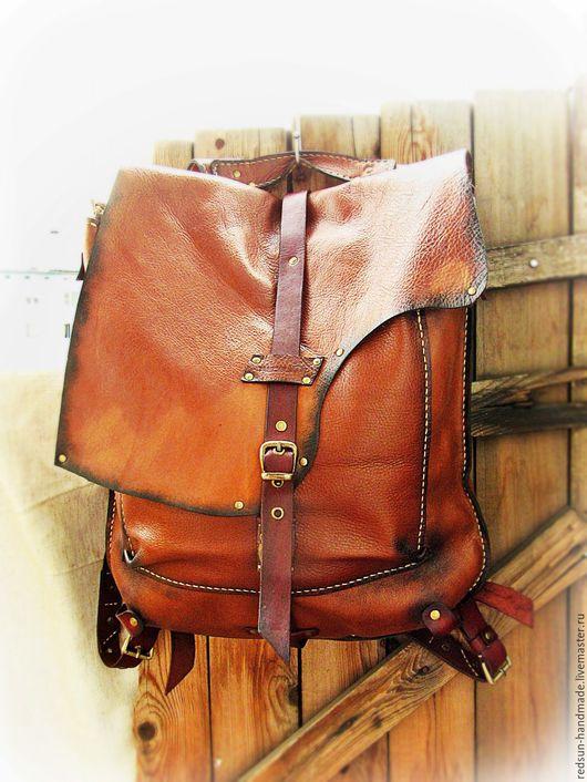 Рюкзаки ручной работы. Ярмарка Мастеров - ручная работа. Купить Кожаный рюкзак Рыжий. Ручная работа.. Handmade. Рыжий