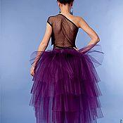 Одежда ручной работы. Ярмарка Мастеров - ручная работа Юбка - пачка со шлейфом фиолетовая из фатина для взрослых. Handmade.