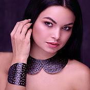 Украшения handmade. Livemaster - original item Leather collar and leather bracelet Black openwork. Handmade.