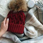 handmade. Livemaster - original item Knitted hat with Burgundy braids