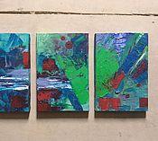 """Картины и панно ручной работы. Ярмарка Мастеров - ручная работа Картина из трёх частей """"Сине-зелёное"""". Handmade."""