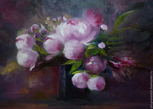 Картины цветов ручной работы. Ярмарка Мастеров - ручная работа. Купить Пионы. Handmade. Бордовый, цветок, бутон пиона, розовый