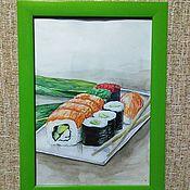 """Картины ручной работы. Ярмарка Мастеров - ручная работа Картина акварелью """"Сочные роллы"""". Handmade."""