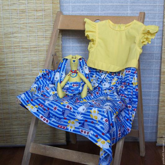 Одежда для девочек, ручной работы. Ярмарка Мастеров - ручная работа. Купить Яркое летнее платье Моя Морячка и зайка. Handmade.