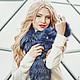Шарфы и шарфики ручной работы. Ярмарка Мастеров - ручная работа. Купить Меховой шарф синий. Handmade. Тёмно-синий