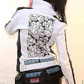 Одежда handmade. Livemaster - original item Jacket made of white genuine leather with a print. Handmade.