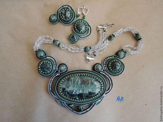 """Колье, бусы ручной работы. Ярмарка Мастеров - ручная работа. Купить комплект """"В зеркале реки"""". Handmade. Зеленый"""