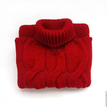 Одежда ручной работы. Ярмарка Мастеров - ручная работа Женский вязаный джемпер с коротким рукавом красный. Handmade.