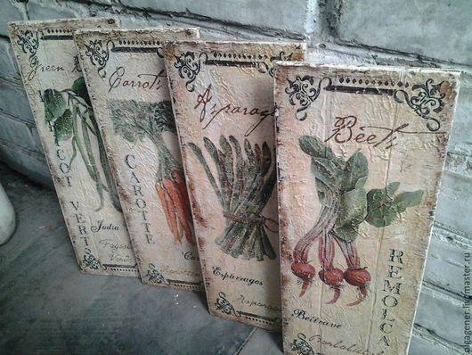 Натюрморт ручной работы. Ярмарка Мастеров - ручная работа. Купить Панно 4 шт.большие деревянные 40х20_Vegetables W0243. Handmade.