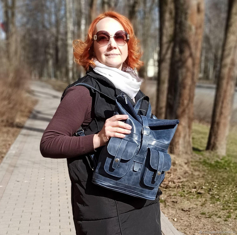 Backpack female leather blue Verdes Mod R32-661, Backpacks, St. Petersburg,  Фото №1