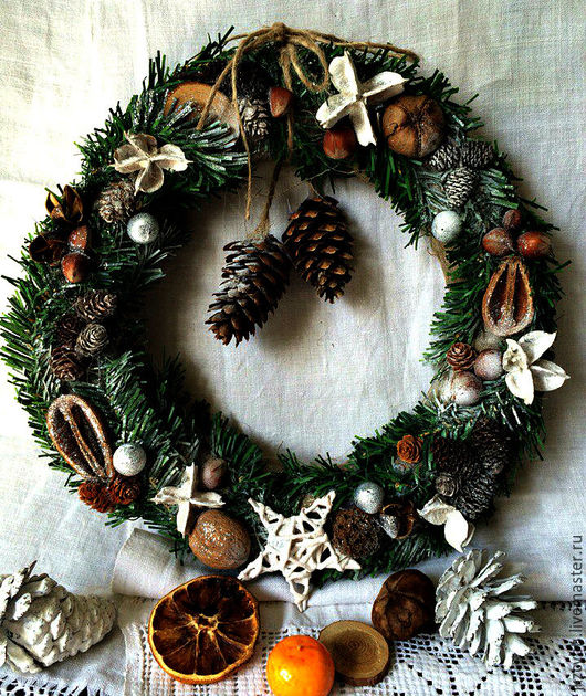 Новый год 2017 ручной работы. Ярмарка Мастеров - ручная работа. Купить Венок новогодний, интерьерный, Рождество, Новый Год. Handmade.