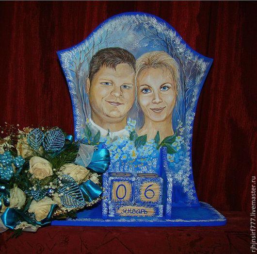 Подарки на свадьбу ручной работы. Ярмарка Мастеров - ручная работа. Купить Вечный календарь Свадебный подарок портрет живопись. Handmade.