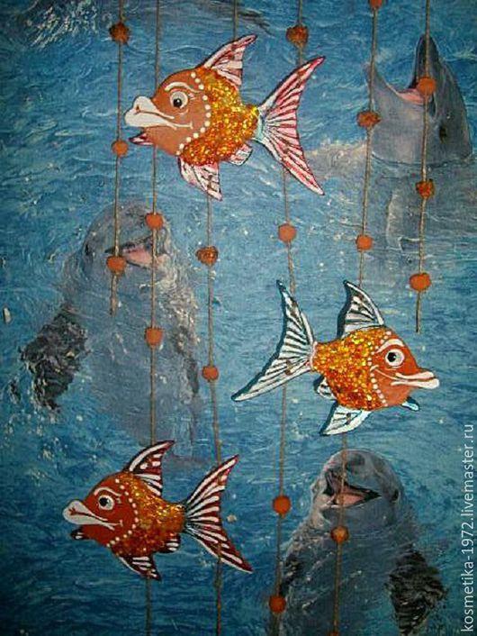Подвески ручной работы. Ярмарка Мастеров - ручная работа. Купить Рыбы керамика для интерьера, панно рыбы, морская тема.янтарь.. Handmade.