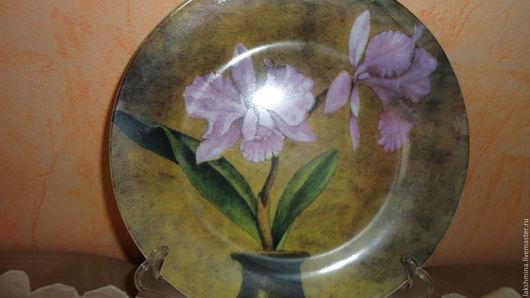 """Тарелки ручной работы. Ярмарка Мастеров - ручная работа. Купить Тарелка """"Орхидеи"""".. Handmade. Комбинированный, тарелка настенная, подарок женщине"""