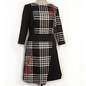 Одежда ручной работы. Ярмарка Мастеров - ручная работа платье черное платье авторское платье с красной вышивкой. Handmade.