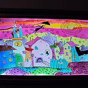 Картины и панно handmade. Livemaster - original item Lamp stained glass Panels stained glass Fairytale town. Handmade.