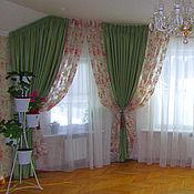 Для дома и интерьера handmade. Livemaster - original item Floral curtains for Bay window. Handmade.